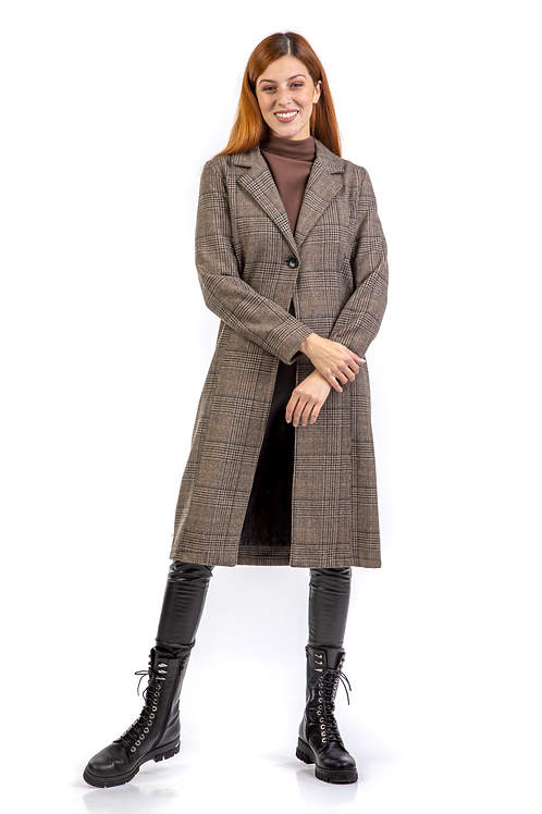 Μίντι καρό παλτό