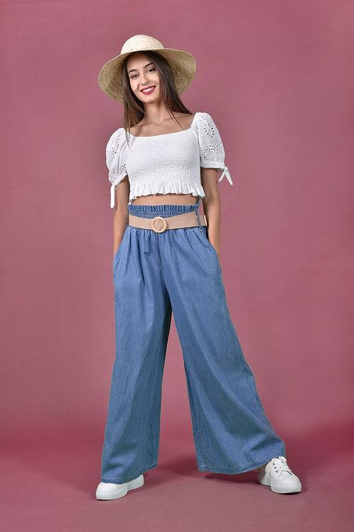 Denim παντελόνα με λάστιχο σφηκοφωλιά
