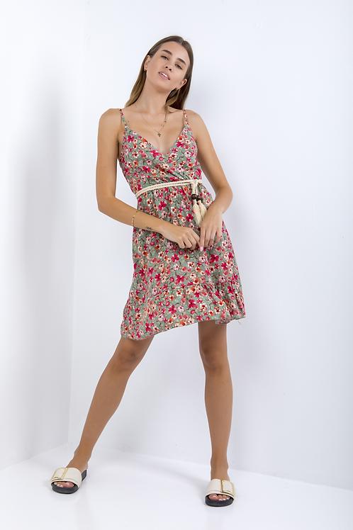Μίνι φλοράλ φόρεμα με τιράντα