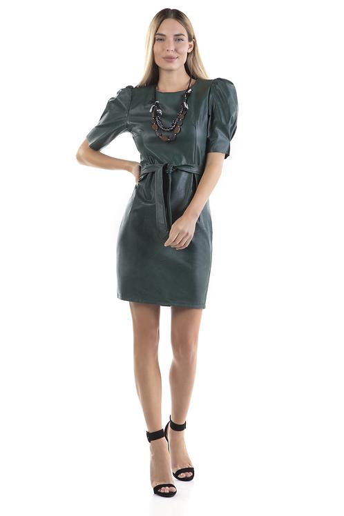 Φόρεμα δερματίνη με πιέτες στα μανίκια