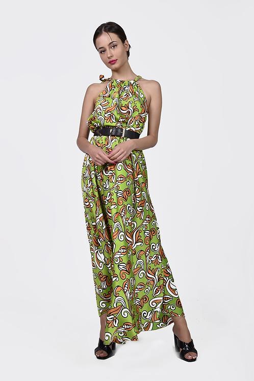 Maxi φλοράλ φόρεμα με δέσιμο στο λαιμό