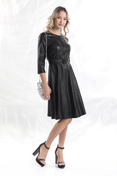 Φόρεμα δερματίνη με φερμουάρ στο μπούστο