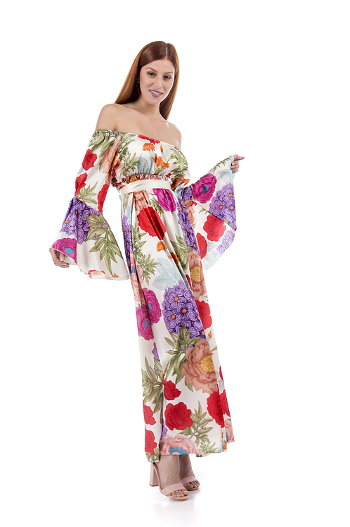 Φόρεμα με ακάλυπτους ώμους και καμπάνα μανίκι