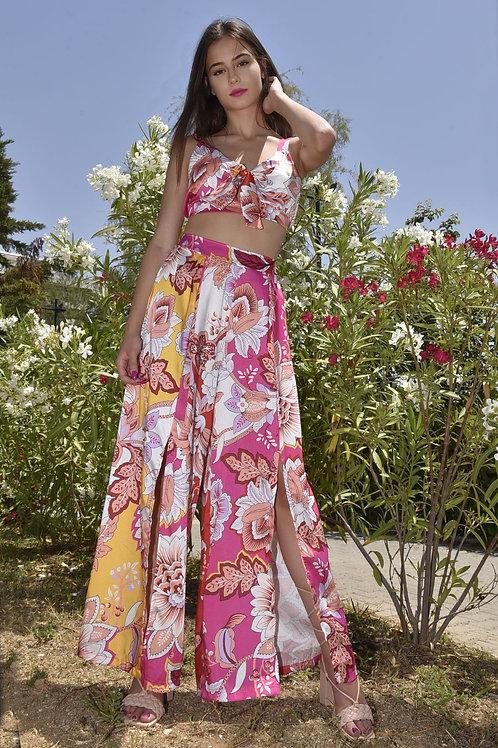 Floral set τοπ - παντελόνι