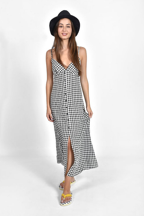 Plaid button up φόρεμα