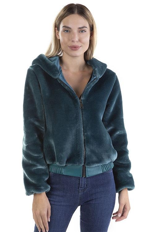 Γούνινο μπουφάν με κουκούλα