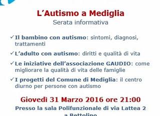Il 31 marzo serata informativa sull'autismo a Mediglia