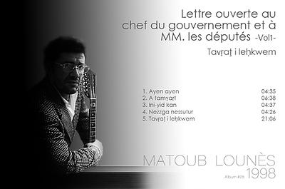 matoub lounès 1998 - lettre ouverte aux...