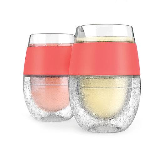 Wine FREEZE™ Cooling Cups in Coral