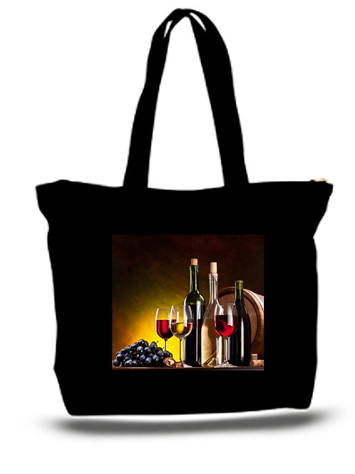 Large Tote Grocery & Stuff Bag Still Life With Wine Bottles, Glasses