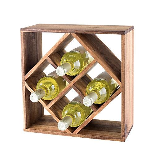 Acacia Wood Lattice Wine Rack display