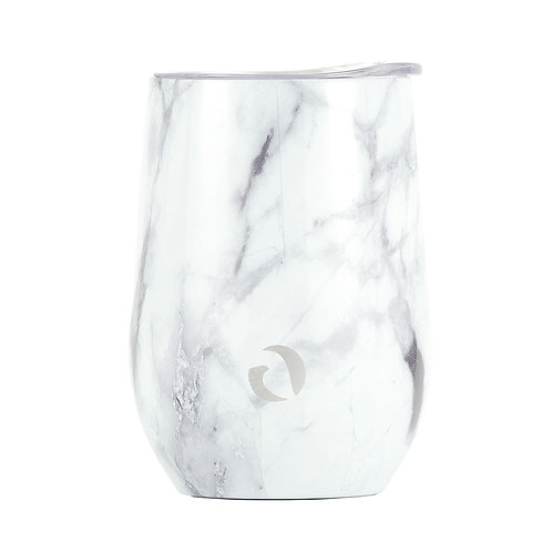 DRINCO® 12oz Insulated Wine Tumbler Glass (Pacifica White Marble)