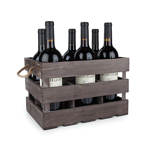 Wooden 6-Bottle Crate