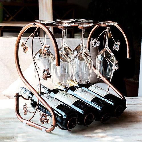 European wine glass and bottles holder