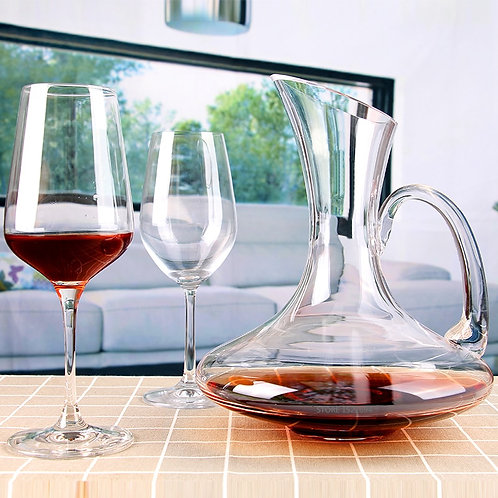 Wide Base, Handled Wine-Jug fine crystal wine Decanter