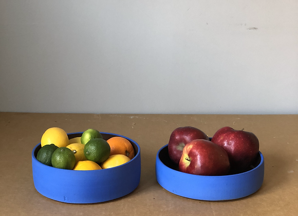Flat Sided Blue Bowl