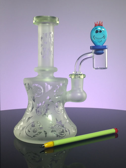 """7"""" Fully Sandblasted Rick and Morty Tube with Quartz Meseeks Cap Pencil Dabber"""