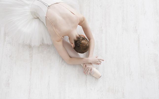 Beautiful graceful young ballerina in po