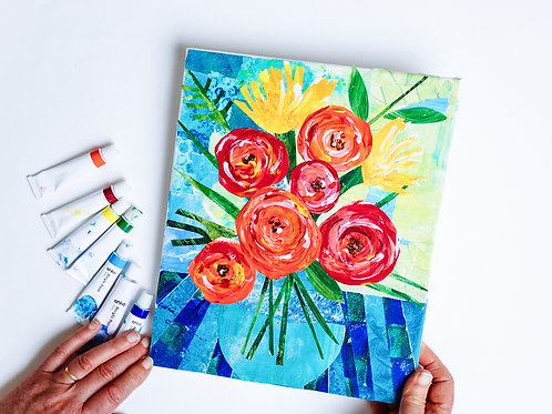 Painted Paper Collage Kit: 'A Vase Full of Happiness'