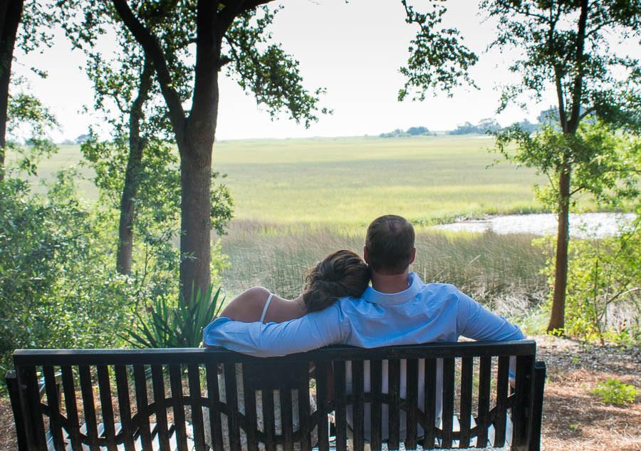 newlywed on bench overlook marsh