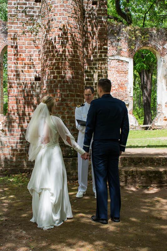 military elopement at historic church ruins sc
