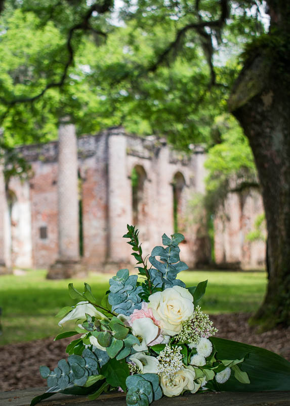 rustic bouquet in white and blush at old sheldon church ruins