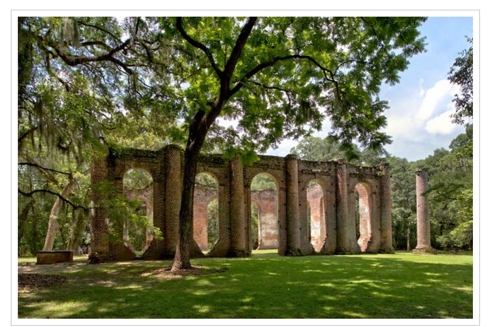 side view of the old sheldon church ruins in beaufort county
