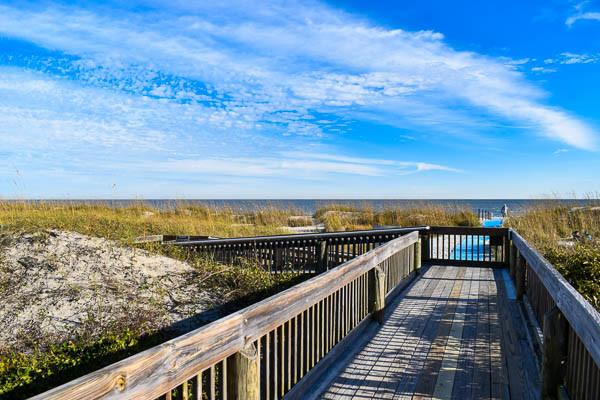 Beach boardwalk over the dunes to the hilton head island beach in SC