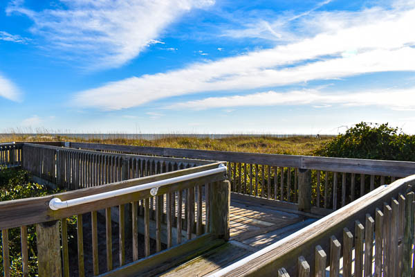 Folly Field Beach boardwalk twists over the sand dunes to the beach