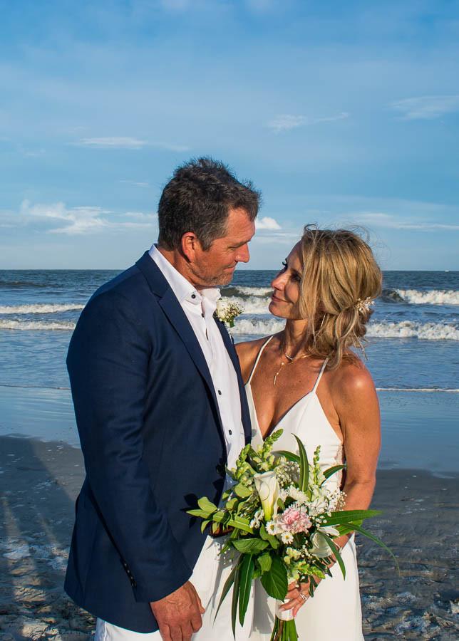 tropical bouquet in white and blush at a beach wedding on hilton head island sc