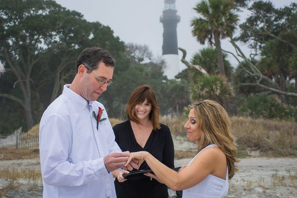 Beach wedding ceremony at Hunting Island in Beaufort SC
