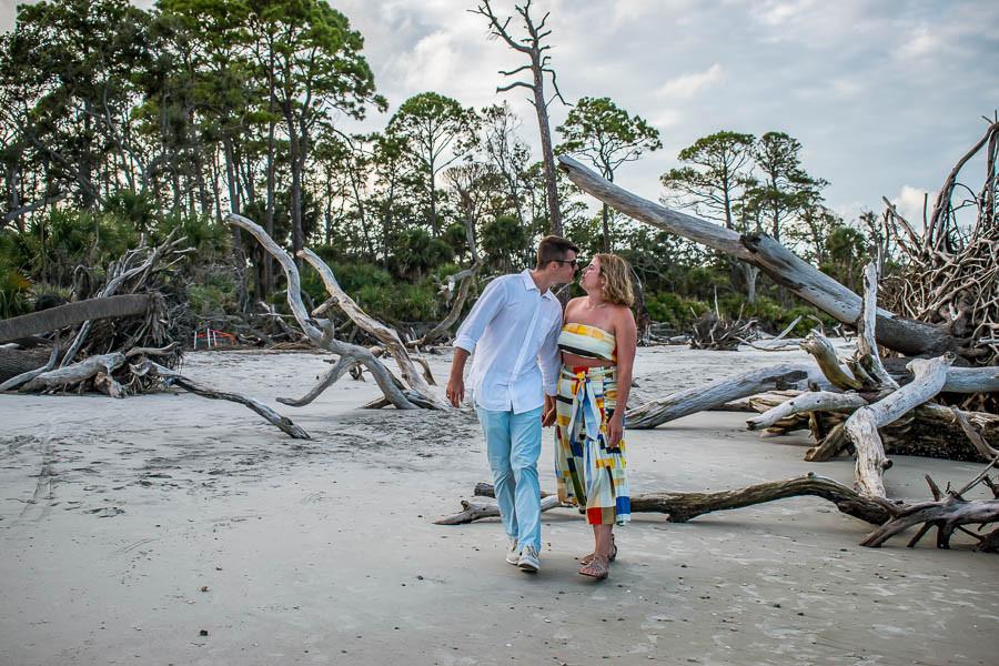 beach elopement at hunting island at beaufort sc
