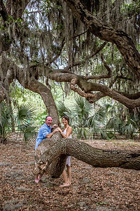 elopement at the large mossy oak tree at Jarvis Creek Park on hilton head island sc