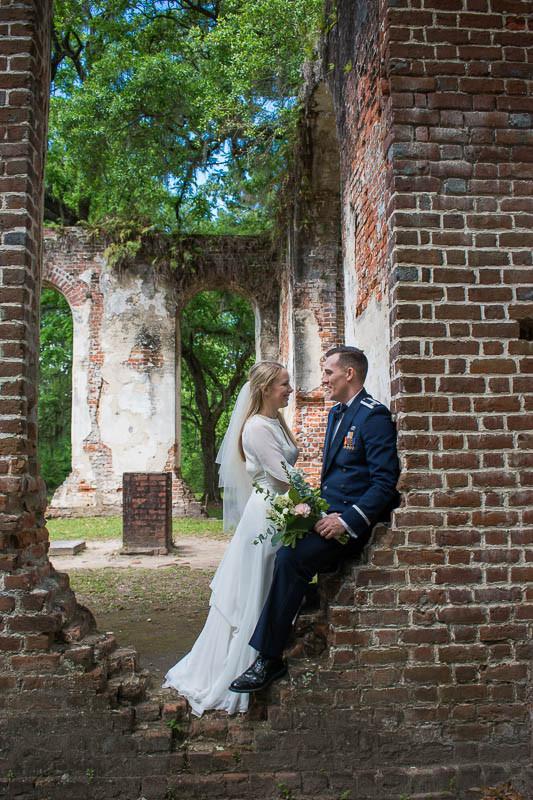 wedding ceremony through the window old sheldon ruins beaufort sc