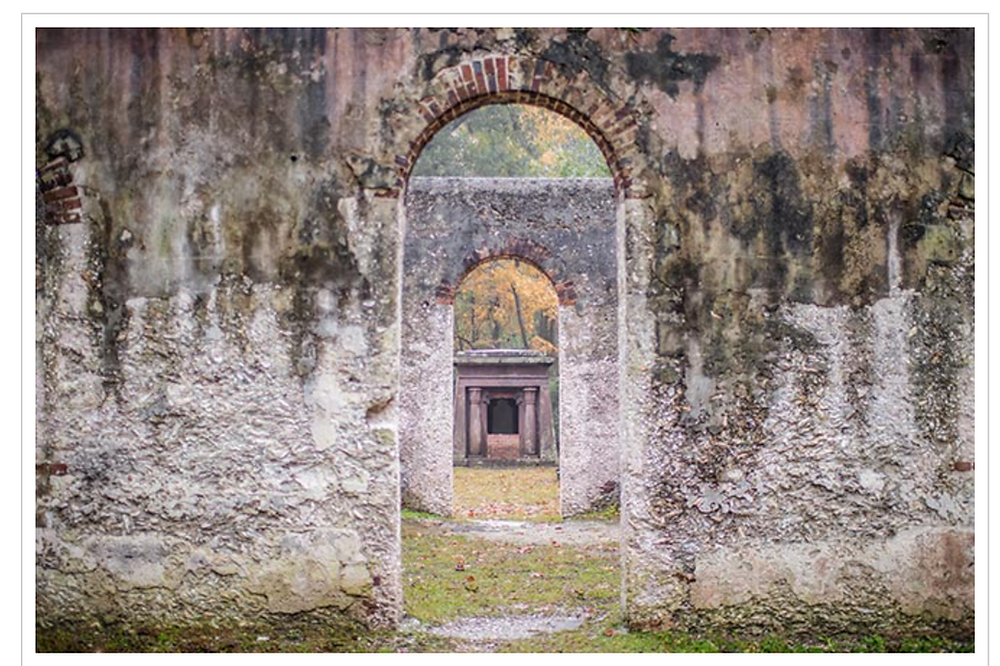 interior view of the ruins on st helena island