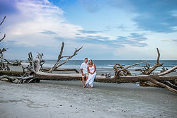 beach elopement at Hunting Island in Beaufort sc at the natural beach