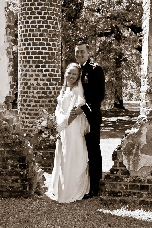 Vintage bridal dress at historic location