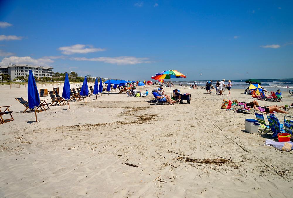 crowded coligny beach on hilton head island sc
