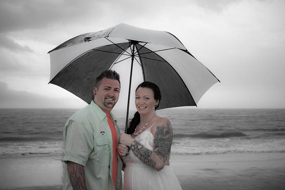 beach wedding rain Hilton Head Island