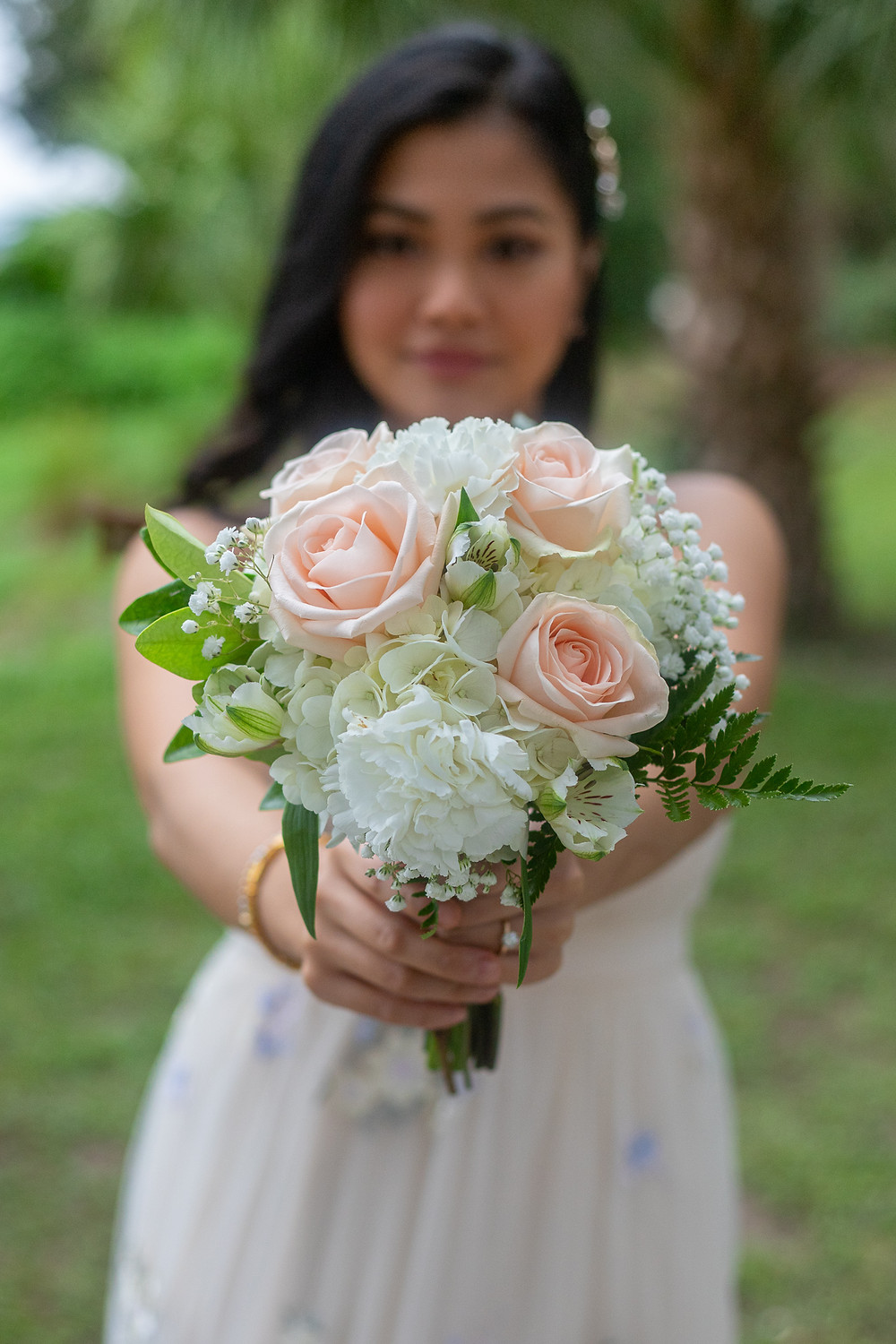 medium white and blush bouquet with hydrangea and roses