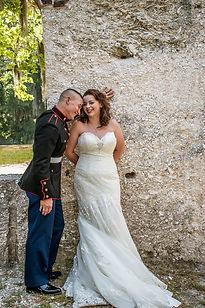 romantic military elopement at te chapel of ease in Beaufort sc