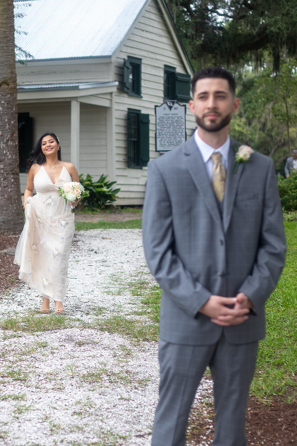 first look bride and groom photo in bluffton sc