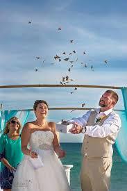 beach wedding butterfly release