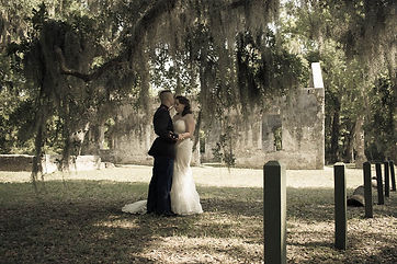 military elopement beaufort sc at the chapel of ease ruins