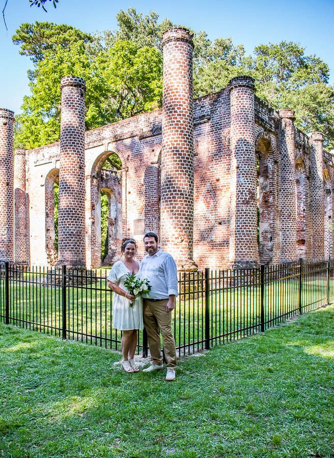 Old Sheldon Church Ruins with fence at an elopement