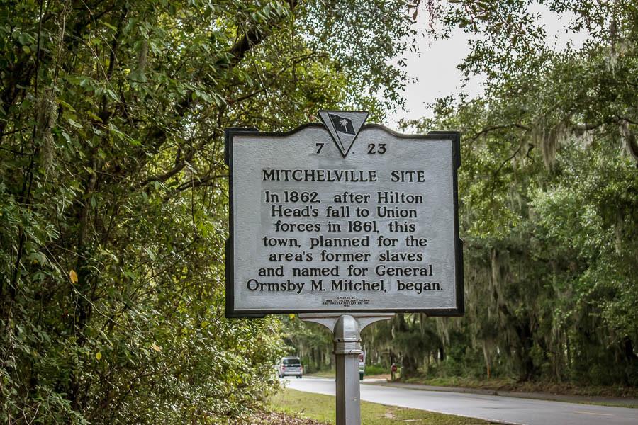 historic marker for mitchelville site on hilton head island sc