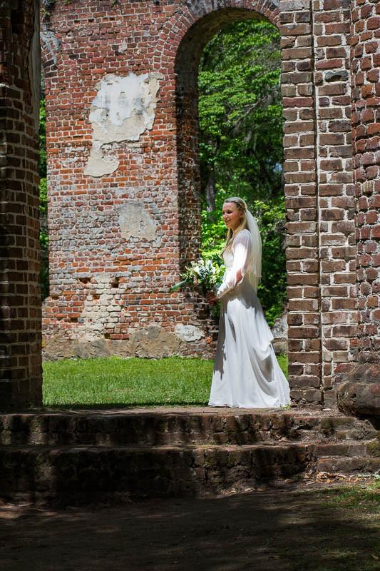 bride at old sheldon church ruins