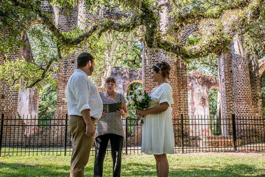 Elopement ceremony at Old Sheldon Church Ruins outside the fence