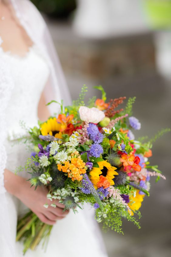 wildflower bouquet with sunflower and colorful