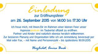 Wir feiern Eröffnung am Samstag, 26. September 2015